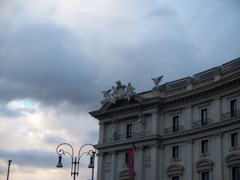top edge of bldg near the fountain at end of Via Nazionale