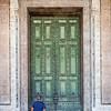 In front of the door