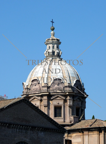 A Church Dome in in Rome, Italy.