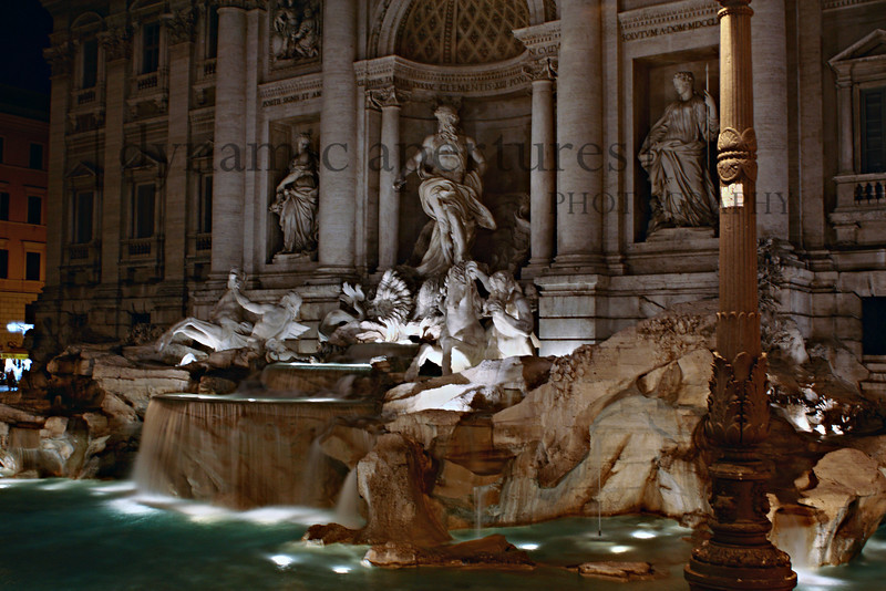 Trevi Fountain at night.