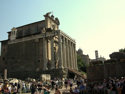 the Temple of Antoninus and Faustina, later known as Church of San Lorenzo in Miranda