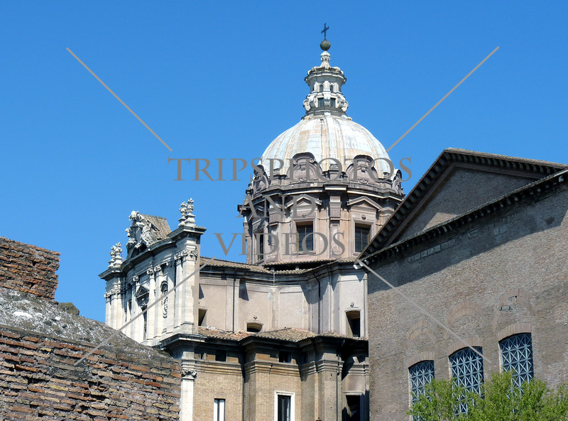 View near the Roman Forum ruins in Rome, Italy.