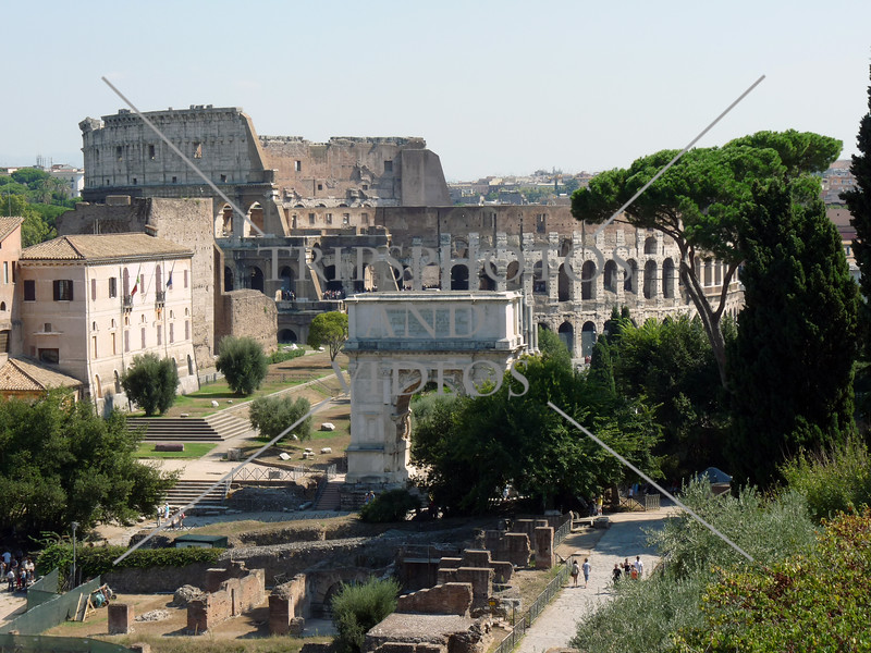 The Roman Forum ruins and Coliseum in Rome, Italy.