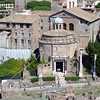 A temple at the Roman Forum ruins in Rome, Italy.
