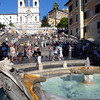 Spanish Steps, church of Trinita dei Monti, and the Fontana della Barcaccia water fountain in Rome, Italy.