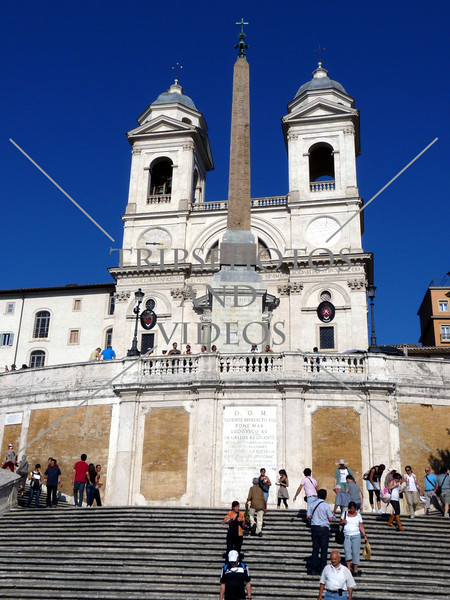 Spanish Steps and church of Trinita dei Monti in Rome, Italy.