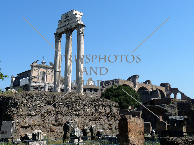 The Roman Forum ruins in Rome, Italy.