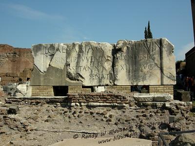Inscription dedicated to Lucius Caesar. Located at the front of Basilica Fulvia-Aemilia in the Roman Forum
