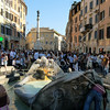 The Fontana della Barcaccia water fountain in front of the Spanish Steps in Rome, Italy.