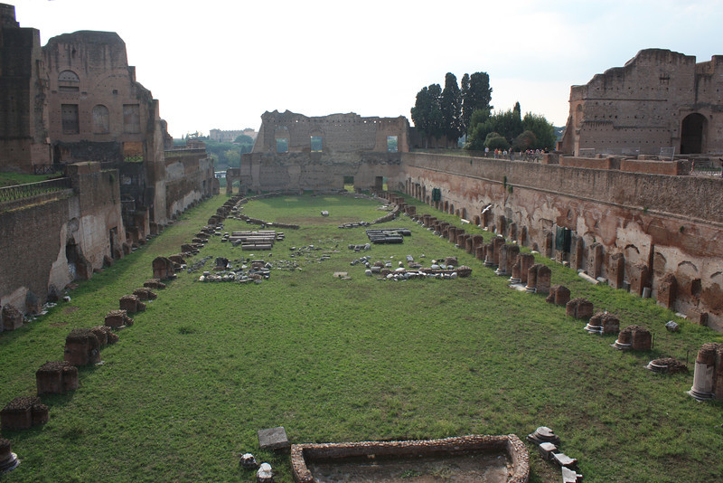 In the area of the forum, this is where the chariots were raced.