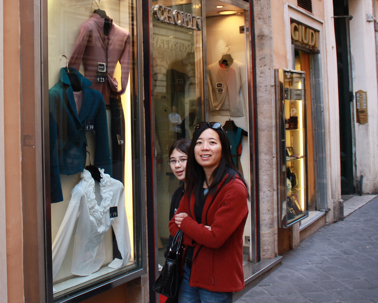 After the Trevi, we went to check out the Spanish steps.  On the way we went through a great couple of shopping streets, and so took our time.  Contrary to our expectations, all the stores were open, even though it was a holiday - this was a nice surprise.