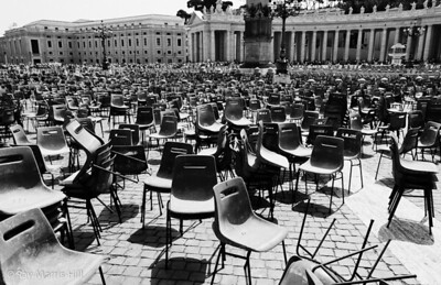 A jumble of chairs in St Peter's Square