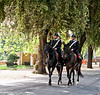 Mounted police patrol the Villa Borghese