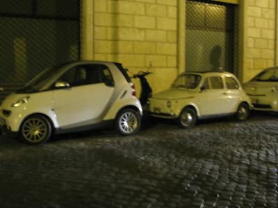OK, so you thought the Smart car was tiny?  Guess again.  Btw- the Smart car in Italy is about as popular as the Honda Accord in the US.  It's so small that you'll actually see some people park them  perpendicular to the curb instead of parallel.  I'm not kidding.  It still fits without protruding out too far into the street.