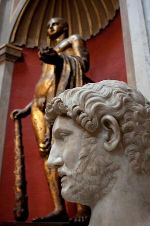 One of the many statues in the Vatican museum