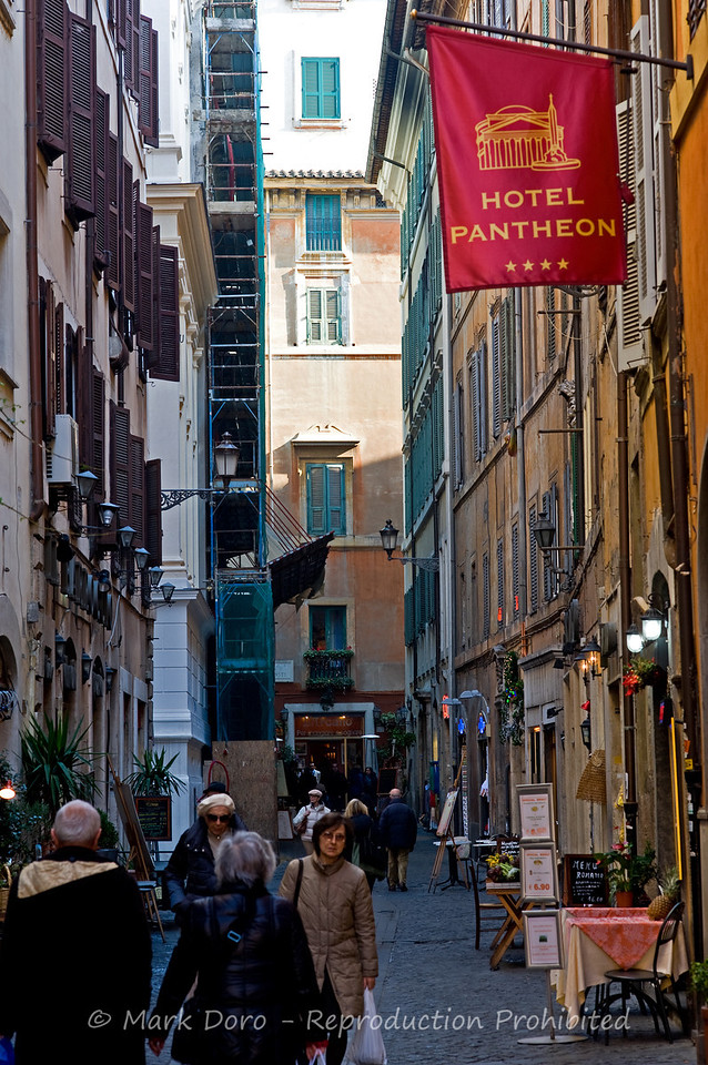 Typical streets adjacent to the Pantheon, Rome, Italy
