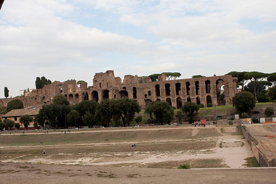 Circus Maximus - This is where the Roman's conducted chariot racing.  The first one to circle this dirt track six times was the winner.  amazing. The structure in the background was part of the grandstand.  Think Ben Hur.
