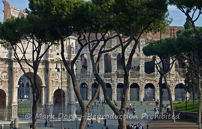 View to the Arch of Constantine & the Colosseum, Rome, Italy