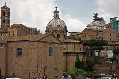 Curia (Senate House)with The church of Santi Luca e Martina in the background ( from outside the Forum )