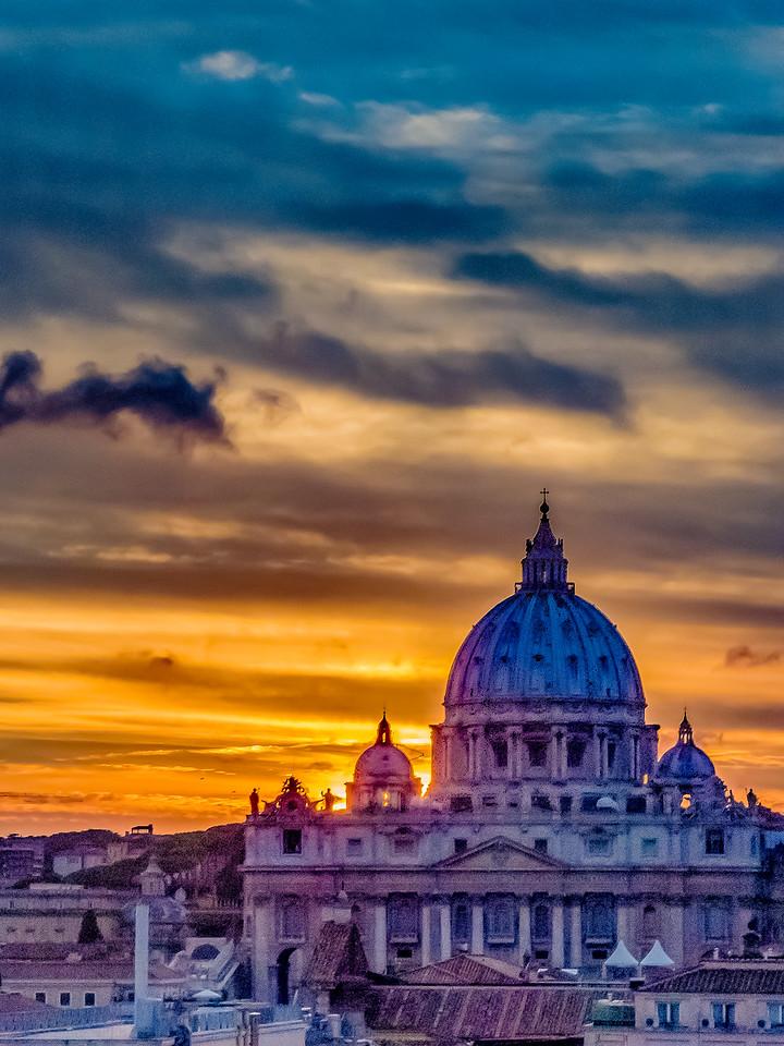 Sunset over Basilica San Pietro