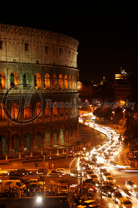 The Colosseum. This was taken from the Hotel Gladitori. Nice hotel, incredible view. Rome, Italy.