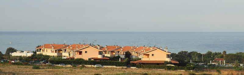 Townhouses on the way to Rome from the port city of Civitavecchia.