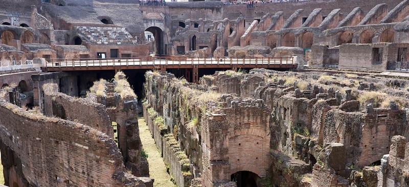 Galleries below the wooden floor housing slaves, gladiators and animals.