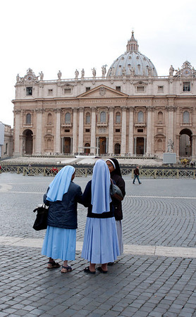 These nuns were cute how they were handing off their little camera to each other so they could have their picture taken individually in front of St Peter's.