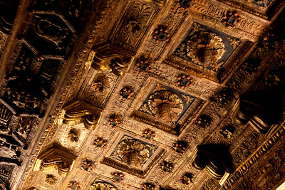 one of the many ornate ceilings of the Vatican museum.  This one in particular was made of wood and i would doubt if that's not gold paint on it.