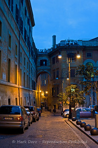 Even at night parking is at a premium, Rome, Italy