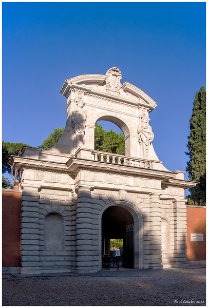 Entrance gate, Palatine Hill, one of Rome's famous seven hills.
