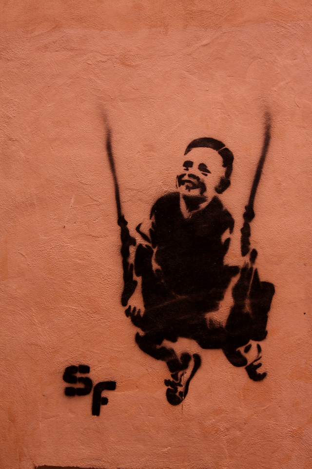 Spraypainted onto a wall.