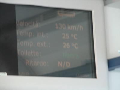 This Italian train rips!  I saw 142kph = 88.5 mph