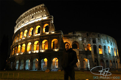 At the Colosseum at night.....alone.  January 2006