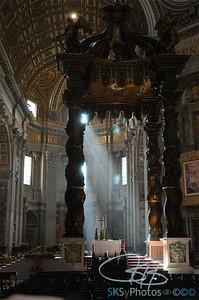 Sun rays thru Bernini's baldacchino, St. Peter's in the Vatican, Rome 2006