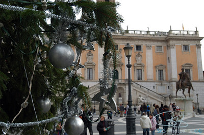 Christmas tree at the Campidoglio, a square designed by Michaelangelo.