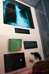 X-ray of President Reagan's bullet wound, example of the gun John Hinkley, Jr. used and amo.  My boys asked me if Hinkley was killed when he shot President Reagan.  I told them, no, he's in Crazy Prison where they send crazy people who do bad things.  They weren't too happy about that.