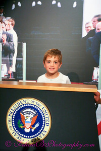 Evan pretending to be sworn in as President on Inauguration Day.