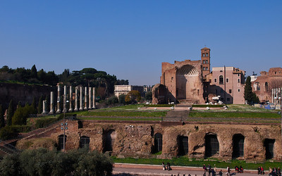 Forum Romanum and the Basilica of Constantinus from Colosseum