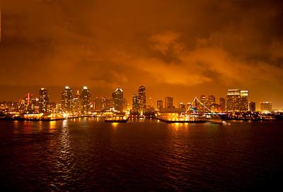 San Diego harbor at night