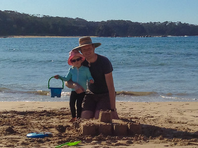 Daddy and Scarlett Building Sand Castles at Rosedale - July 2014