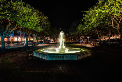 Rosemary Beach Water Fountain at night