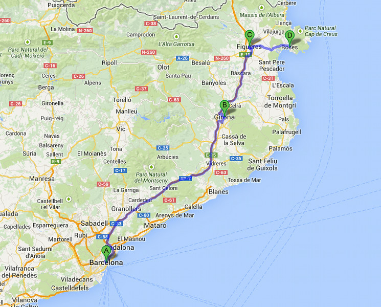 Map showing our drive from Barcelona (A) -> Roses (D) through Girona (B) and Figueres (C).