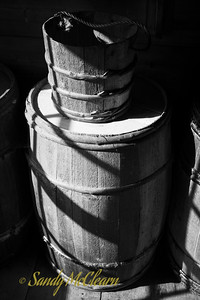 Barrel and bucket in a small store. Ross Farm Museum, Nova Scotia.
