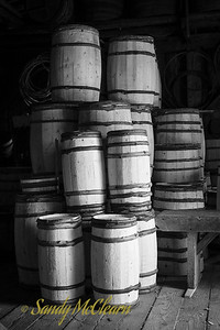 A pile of barrels in the cooper's shop at Ross Farm Museum, Nova Scotia.