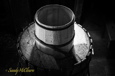 A partly constructed barrel in the cooper's shop. Ross Farm Museum, Nova Scotia.