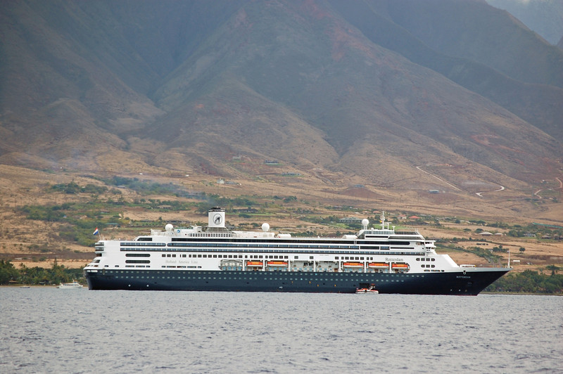 M/S Rotterdam off Lahaina, Maui.  Notice the tenders; we could not dock there, because of the size of the ship.  Many whales could be seen right from the ship!