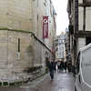 """Rue Saint Romain leading from church Saint Maclou to the cathedral. The """"Historial"""" sign is the location of a Jeanne d'Arc exhibt (not a museum) where a video can be viewed and a gift shop inside."""