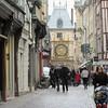 Rue du Gros Horloge. Clock bridge over street.