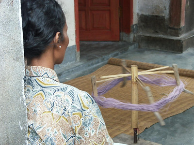 Throughout the village we found women working with thread and fabric